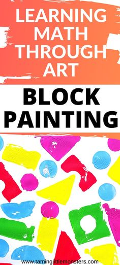 Painting with blocks is a fun way for toddlers and preschoolers to begin learning about maths. This process art activity explores shapes, angles, colors, pressure and more. Check out the 4 different pictures you can make using block painting. #artsandcrafts #math #toddler #preschool