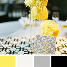 Yellow, White, Gray, Black Color Palette