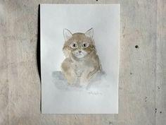 cat portrait original watercolor painting - wall art - pet portrait - home decor - pet lovers gift by vumap on Etsy