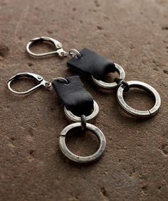 Loving this Silvertone & Black Leather Tethered-Ring Earrings on #zulily! #zulilyfinds