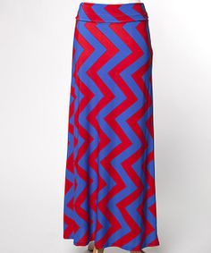 Blue & Fuchsia Zigzag Maxi Skirt | something special every day