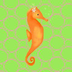 Penelope the Seahorse Canvas Art