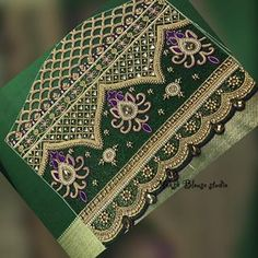 💚💚💚💚💚 Work in progress Kindly ping us on 9884686333 for details and bookings Wedding Saree Blouse Designs, Pattu Saree Blouse Designs, Blouse Designs Silk, Diy Embroidery Kit, Hand Work Embroidery, Hand Embroidery Designs, Big Rangoli Designs, Hand Designs, Sleeve Designs