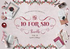 The 10 for 10 Bundle Font Bundles Bold Serif Fonts, Typography Fonts, All Fonts, Script Fonts, Retro Font, Vintage Fonts, Creative Fonts, Beautiful Fonts, Printable Planner Stickers