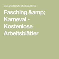 Fasching & Karneval - Kostenlose Arbeitsblätter