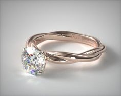 52714 engagement rings, solitaire, 14k rose gold rope solitaire engagement ring item - Mobile