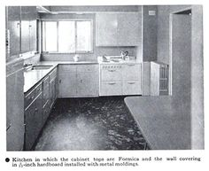 Kitchen with cabinet tops made of Formica, 1938