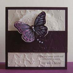 Card made in a Blackberry Bliss colour scheme (now retired) using the Stampin Up Watercolor Wings stamp set and co-ordinating Thinlits.