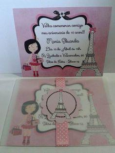 Convite Paris C/ Envelope Em Papel Vegetal - R$ 3,50