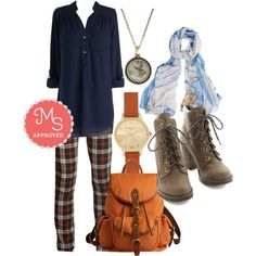 In this outfit: Books and Crannies Pants, Pam Breeze-ly Tunic in Navy, Plot the Course Necklace, Creative Crusader Scarf, Time Floats By Watch in Midi, Backpack to the Future Bag, Fall Festivities Boot. I WANT ALL OF IT OMG