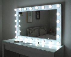 XL Hollywood vanity mirror with lights-Make up Mirror - wall hanging mirror43''x27''-Perfect for IKEA Malm vanity-Bulbs NOT Included