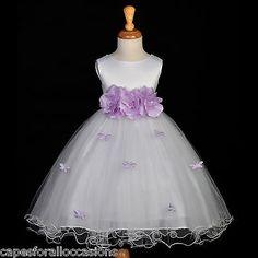 Mariposas Blancas Boda Lila Flores Niña Vestido 12M-18M 2 3T 4 6 8 9 10 | Ropa, calzado y accesorios, Ropa de boda y formal, Vestuario formal de niñas | eBay!