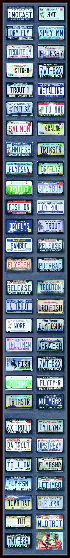 Somebody's wonderful collection of sports fishing orientated license plates. But they're missing Iowa's REAP trout plate! Maybe use these creative ideas for your own personalized trout plate.