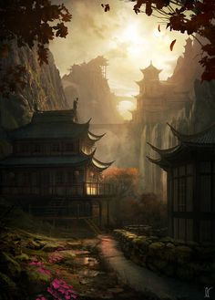 Andrée Wallin Concept Art #Oriental #asian #city #pagoda #simple #town #forest