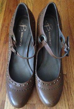 New $139 B Makowsky Brown Born Leather Studded Chunky Heels Size 8 8.5 Mary Jane