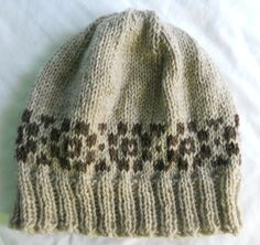 Fair Isle hat in oatmeal and brown, $28