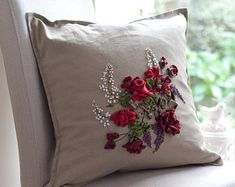 Items similar to Floral silk ribbon embroidered pillow case cushion cover on Etsy Silk Ribbon Embroidery, Ferns, Pillow Cases, Cushions, Unique Jewelry, Throw Pillows, Handmade Gifts, Sewing, Floral