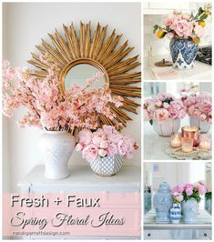 Home Interior Wall Spring Floral Arrangements using Fresh or Faux Florals - Randi Garrett Design.Home Interior Wall Spring Floral Arrangements using Fresh or Faux Florals - Randi Garrett Design Garden Types, Diy Garden, Decoration Ikea, Decoration Bedroom, Room Decor, Chinoiserie, Gold Sunburst Mirror, Cheap Flowers, Faux Flowers