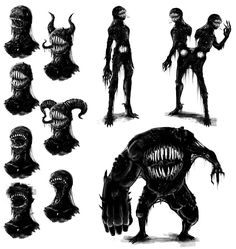 Concept - Tar monster by TheBigBad-Wolf on DeviantArt Mutants & Masterminds Tar Monster (Monster Com Monster Art, Monster Concept Art, Creepy Monster, Monster Drawing, Monster Design, Scary Monsters, How To Draw Monsters, Monster Sketch, Monster Tattoo