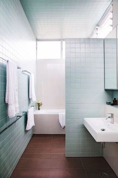 Tile is the one detail that singlehandedly transforms any bathroom. Here, 20 bathroom tile ideas to inform and inspire your next design project. Duck Egg Blue Bathroom, Brown Bathroom, Laundry In Bathroom, Bathroom Wall, Bathroom Interior, Small Bathroom, Blue Bathrooms, Bathroom Design Inspiration, Bathroom Colors