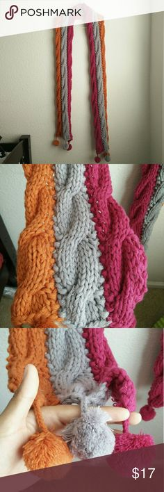 Old Navy Scarf Old Navy cable knit scarf. Orange, grey, pink. Super warm. Long. I love it but I just never wore it. Send me an offer! Old Navy Accessories Scarves & Wraps