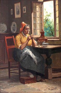 SIMONIN GERARD ANTIQUE ORIGINAL ITALIAN OIL PAINTING  LADY INTERIOR SIGNED Oil, The Originals, Antiques, Lady, Interior, Painting, Antiquities, Antique, Indoor