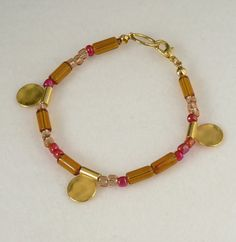 Boho Bracelet with Golden Charms / Ethnic Bohemian by bleuluciole