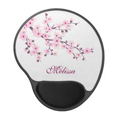 Floral Cherry Blossom Pink White Personalize Gel Mouse Pad - flowers floral flower design unique style