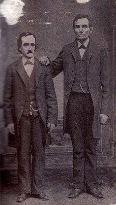 Fig. 7-C- Edgar Allan Poe poses with Abraham Lincoln in Mathew Brady's Washington, D.C. studio- February 4th, 1849.