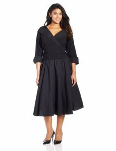 7fc2177787ee Jessica Howard Women's Plus-Size 3/4 Sleeve Collared Flare Dress, Black,  16W at Amazon Women's Clothing store: Plus Size Formal Dresses