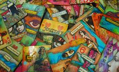 """Altered playing cards from my online class, """"The Spoken Soul"""" on Artful Gathering / Mary Jane Chadbourne / Desert Dream Studios / Copyright 2013 / All Rights Reserved"""
