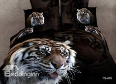 Hot Selling 3D Majestic King of All Animal Print 4 Pieces Bedding Sets - beddinginn.com