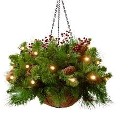 Here are some of the best Christmas hanging baskets with lights that can be hung in either an outdoor or indoor location. These lighted hanging baskets are battery operated and do not require an electrical outlet or extension cord. Christmas Hanging Baskets, Pine Cone Christmas Decorations, Christmas Tree Branches, Christmas Planters, Christmas Porch, Winter Christmas, Christmas Wreaths, Christmas Crafts, Outdoor Decorations