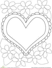 Valentine's Day Preschool Kindergarten Holiday Worksheets: Color the Heart & Flowers Valentines Day Coloring Page, Heart Coloring Pages, Cute Coloring Pages, Printable Coloring Pages, Color Worksheets For Preschool, Kindergarten Coloring Pages, Preschool Arts And Crafts, Preschool Kindergarten, Valentine Words
