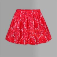 Pettigirl 2016  Red Girl Christmas Lace Skirt Solid Knee Length Little Girl Pleated Clothes Children Casual Wear SR80915-153F
