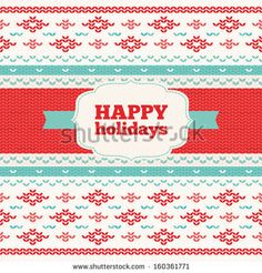 Christmas greeting card with knitted pattern - stock vector. Knitting ornaments.