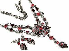 Vintage Fashion Jewelry Necklace Set Ruby Austrian « Blast Gifts