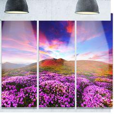 Designart 'Magic Rhododendron Flowers' Landscape Art Glossy Metal Wall Art