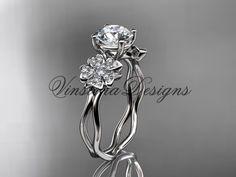 """14kt white gold diamond Cherry Blossom flower, Sakura engagement ring """"Forever One"""" Moissanite VD8019"""