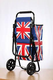 Delux Union Jack design Cool Bag Shopping/Festival Trolley with Fold Down Seat.
