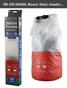 SE OD-DS40L Heavy Duty Jumbo Dry Sack with 500D PVC Tarpaulin, Half Orange/White. SE is proud to present our Heavy Duty Jumbo 40L Dry Sack, 500D PVC Tarpaulin. A dry sack is essential for keeping your gear dry when your camping, backpacking, hiking, kayaking, canoeing, boating, rafting or partaking in any activity where your gear might get wet. How to securely close: (1) Grip and roll the top 3 times (2) Buckle Features of our dry sack include: (1) Convenient top buckle closure that…