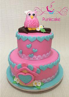 Bolo Artístico para chá de bebê, corujinha, owl  Punkcake (confeitaria) G.Alline