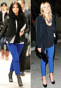 bright blue pants / jeans