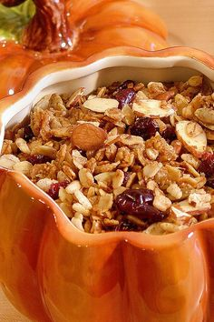 Pumpkin Pecan Pie Granola with Coconut & Dried Cranberries ~ Crisp rice cereal is added for extra crunch. Gluten free option. #glutenfree