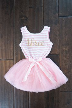 Birthday outfit with gold letters and pink tutu by GraceandLucille