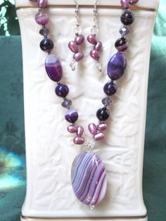 Violet Striped Agate and Fresh Water Pearls Set