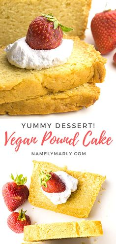 Can you believe this delicious Vegan Pound Cake is made from scratch? OH YES! It's so easy to make and tastes amazing good with coconut whipped cream and your favorite fruit or frosting.    #poundcake #veganpoundcake #vegancake #namelymarly Vegan Cake, Vegan Desserts, Vegan Food, Delicious Desserts, Vegan Recipes, Loaf Pound Cake Recipe, Pound Cake Recipes, Vegan Whipped Cream, Cake Recipes From Scratch