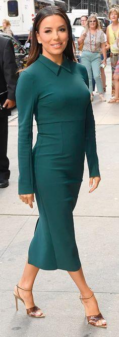 Who made Eva Longoria's green collar long sleeve dress and ankle strap sandals? Jennifer Hudson, Kate Hudson, Dress Sandals, Ankle Strap Sandals, Eva Longoria Style, Fashion Dictionary, Kristin Cavallari, Rachel Bilson, Kate Bosworth