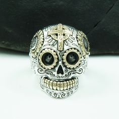 SUGAR SKULL CROSS on FOREHEAD 925 STERLING SILVER US Size 11.5  RING gb-r001 $88.99