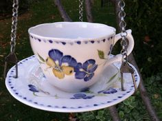 Birdfeeder Hanging birdfeeder hanging blue and by DotnBettys
